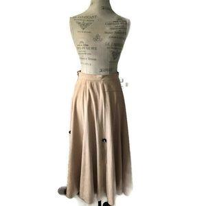 Vintage Faux Suede Long Maxi Skirt Boho Native